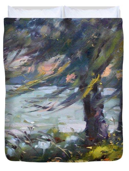 Windy Sunset At Fishermans Park Duvet Cover