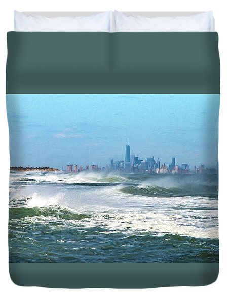 Windy View Of Nyc From Sandy Hook Nj Duvet Cover