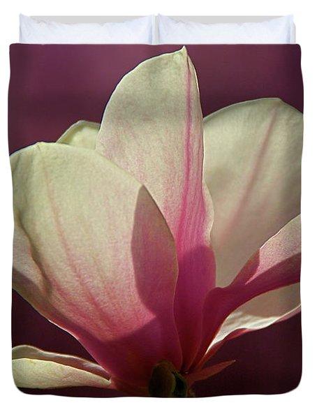 Wine And Cream Magnolia Blossom Duvet Cover by Byron Varvarigos