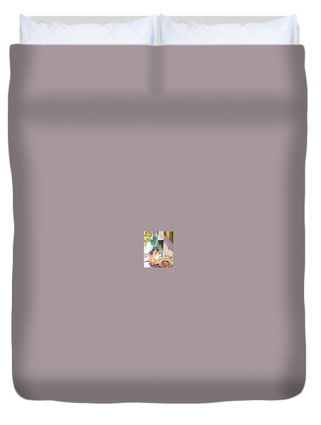 Duvet Cover featuring the painting Wine And Roses by Martha Ayotte