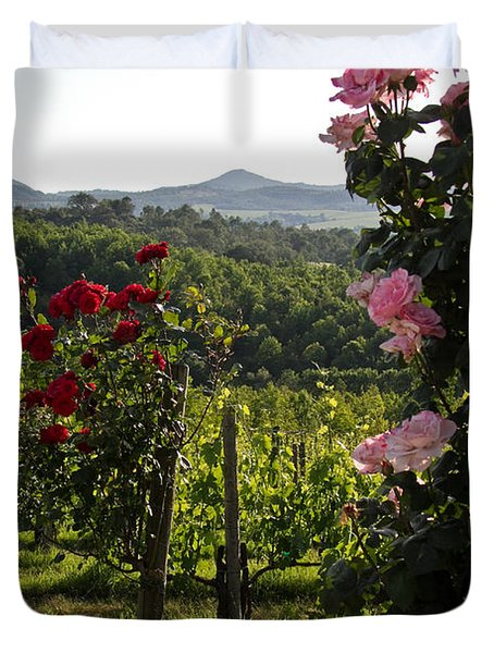Wine And Roses Duvet Cover by Roger Mullenhour