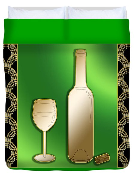 Duvet Cover featuring the digital art Wine Bottle And Glass - Chuck Staley by Chuck Staley