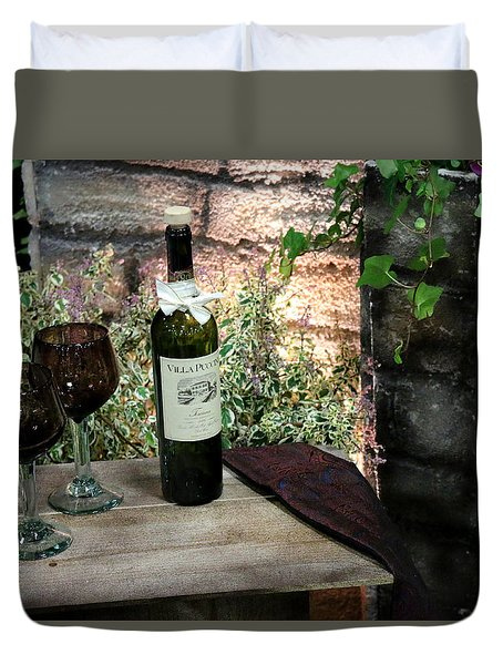 Duvet Cover featuring the photograph Wine For Two by Living Color Photography Lorraine Lynch