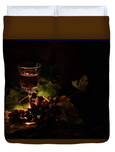 Wine Glass And Grapes Duvet Cover