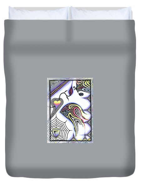 Wine Glass Fish Duvet Cover by Luke Galutia