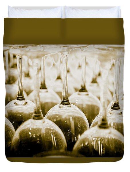 Wine Glasses Duvet Cover