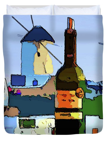 Wine In Mykonos Duvet Cover