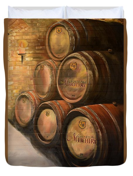 Duvet Cover featuring the painting Wine In The Barrels - Chateau Meichtry by Jan Dappen