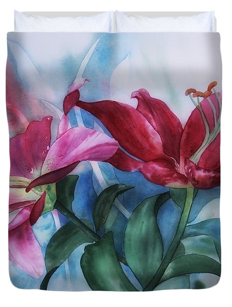 Wine Lillies In Pastel Watercolour Duvet Cover