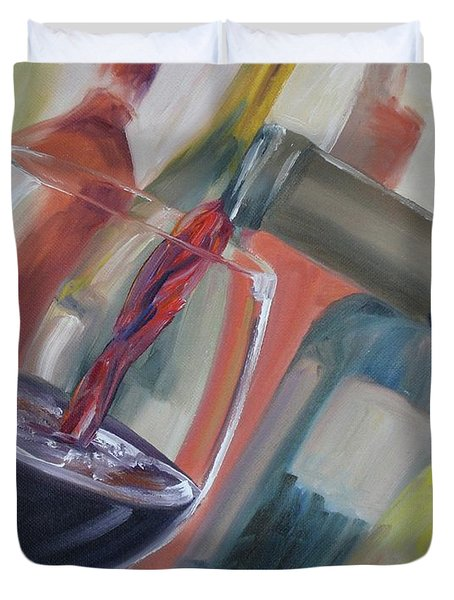 Duvet Cover featuring the painting Wine Pour by Donna Tuten