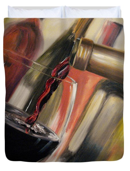Duvet Cover featuring the painting Wine Pour II by Donna Tuten