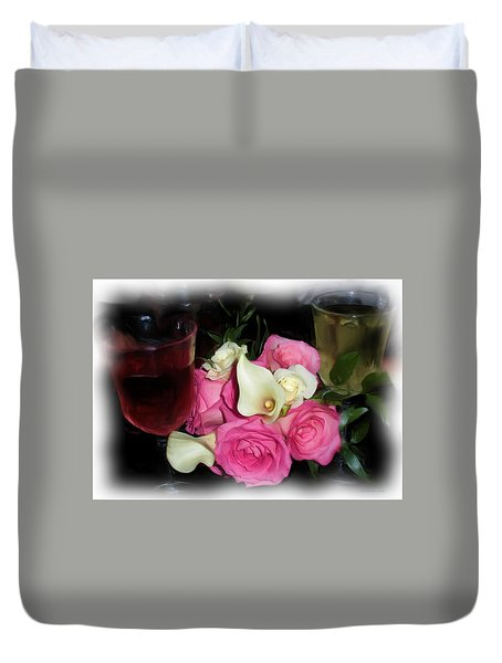 Wine, Roses And Promises Duvet Cover