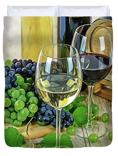 Duvet Cover featuring the painting Wine Tasting by Harry Warrick