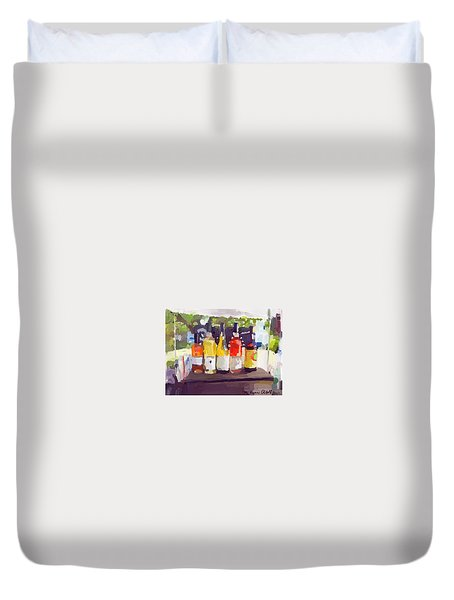 Wine Tasting Tent At Rockport Farmers Market Duvet Cover
