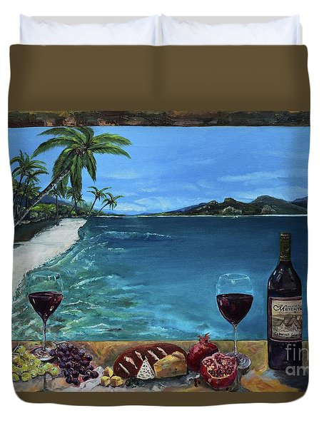 Duvet Cover featuring the painting Wine Thirty - Oceanside by Jan Dappen
