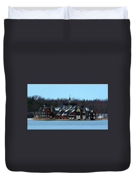 Snow On Boldt Castle Yacht House Duvet Cover