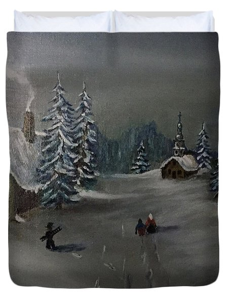 Winter In A German Village Duvet Cover