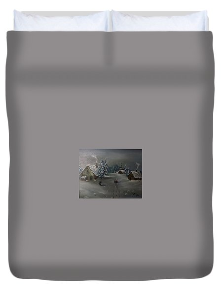 Winter In A German Village Duvet Cover