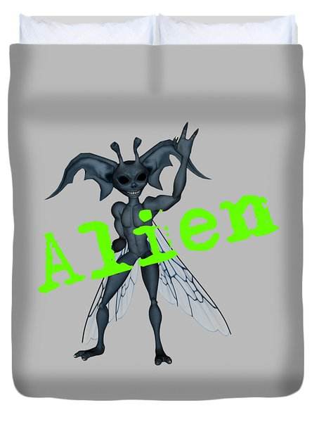 Winged Alien Peace Out Duvet Cover