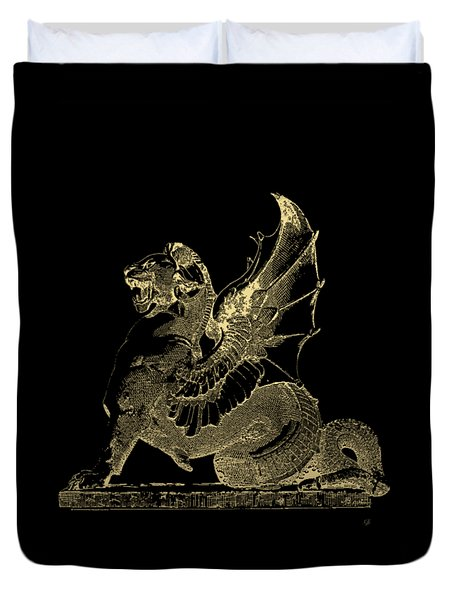 Duvet Cover featuring the digital art Winged Dragon Chimera From Fontaine Saint-michel, Paris In Gold On Black by Serge Averbukh