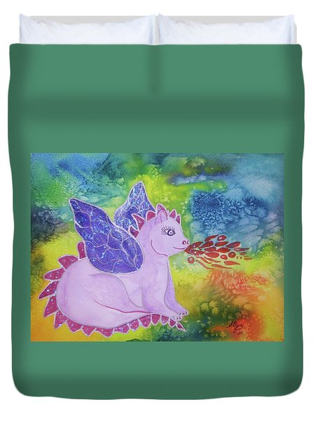 Duvet Cover featuring the painting Winged Dragon by Ellen Levinson