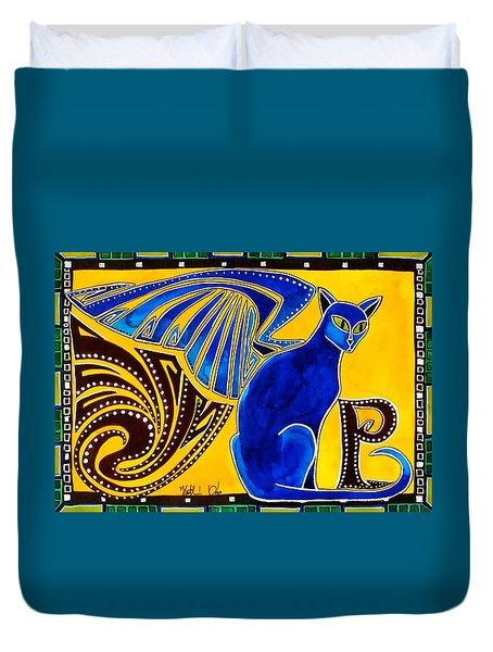 Winged Feline - Cat Art With Letter P By Dora Hathazi Mendes Duvet Cover
