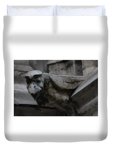 Duvet Cover featuring the photograph Winged Gargoyle by Christopher Kirby