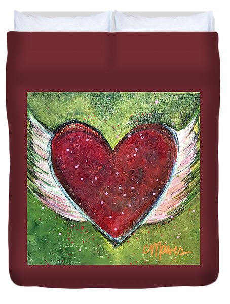 Duvet Cover featuring the painting Winged Heart Number 1 by Laurie Maves ART