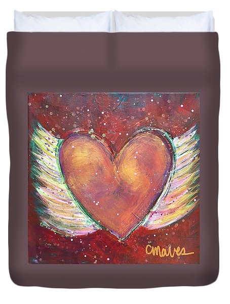 Duvet Cover featuring the painting Winged Heart Number 2 by Laurie Maves ART