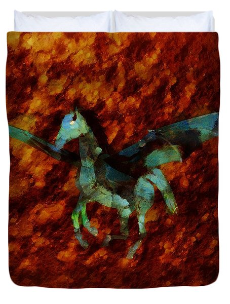 Winged Horse By Sarah Kirk Duvet Cover