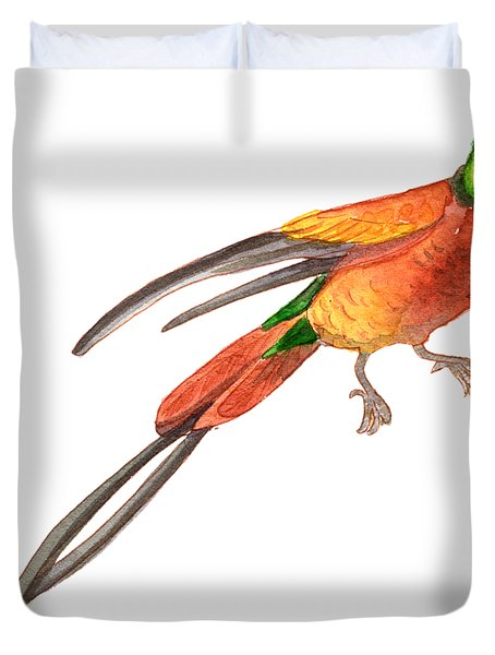 Winged Jewel 6, Watercolor Tropical Rainforest Hummingbird Red, Yellow, Orange And Green Duvet Cover