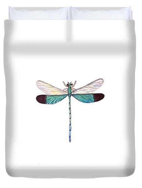 Duvet Cover featuring the painting Winged Jewels 1, Watercolor Tropical Dragonfly Aqua Blue Black by Audrey Jeanne Roberts