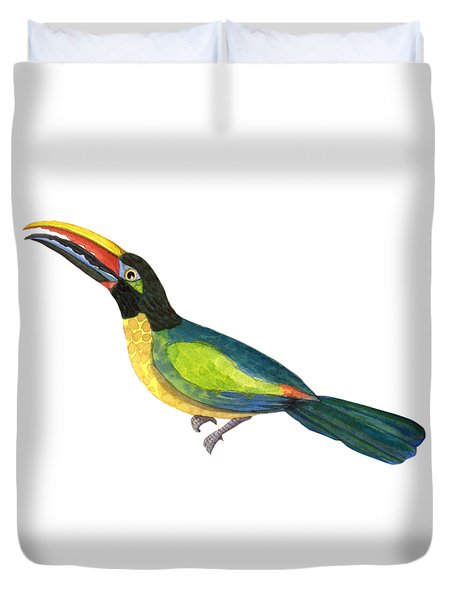 Duvet Cover featuring the painting Winged Jewels 2, Watercolor Toucan Rainforest Birds by Audrey Jeanne Roberts