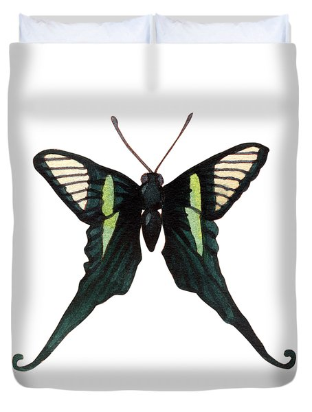 Duvet Cover featuring the painting Winged Jewels 3, Watercolor Tropical Butterfly With Curled Wing Tips by Audrey Jeanne Roberts