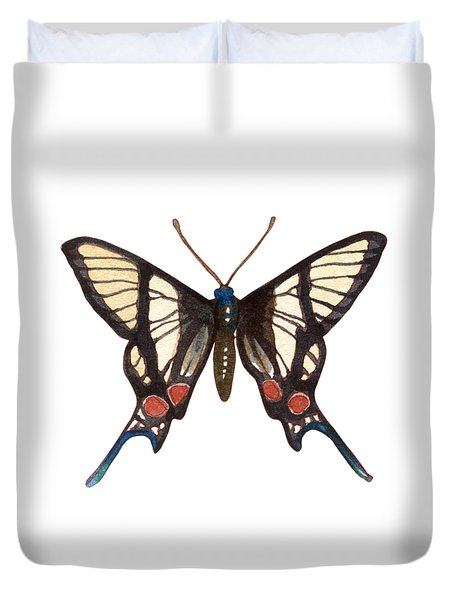 Duvet Cover featuring the painting Winged Jewels 4, Watercolor Tropical Butterflie Black White Red Spots by Audrey Jeanne Roberts