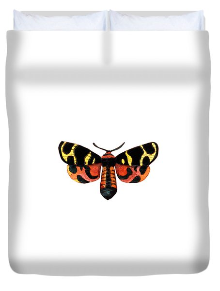 Duvet Cover featuring the painting Winged Jewels 5, Watercolor Moth Black Yellow Orange And Red Tropical by Audrey Jeanne Roberts