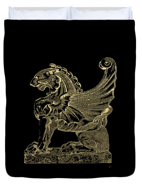Duvet Cover featuring the digital art Winged Lion Chimera From Casa San Isidora, Santiago, Chile, In Gold On Black by Serge Averbukh