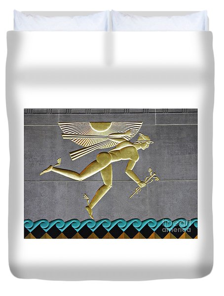 Duvet Cover featuring the photograph Winged Mercury by Sarah Loft