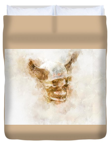Winged Skull Watercolor Duvet Cover