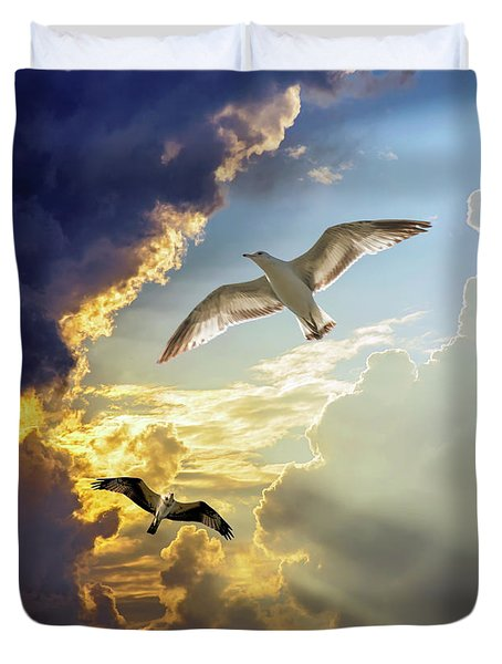 Wings Against The Storm Duvet Cover