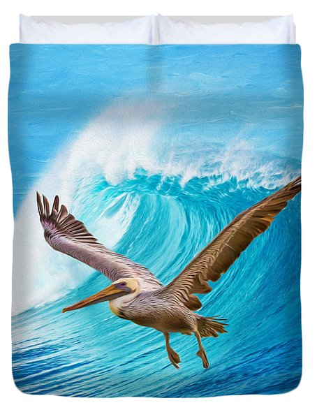 Wings And Waves Duvet Cover
