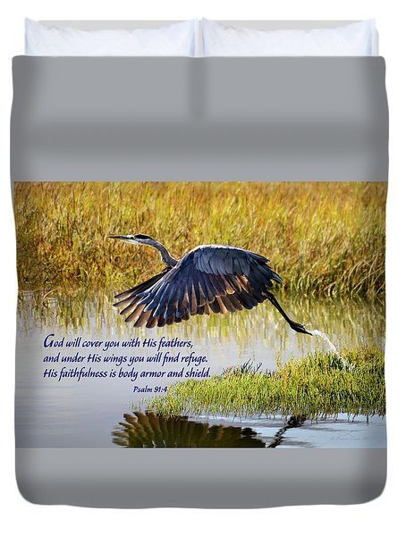 Wings Of Refuge With Scripture Duvet Cover
