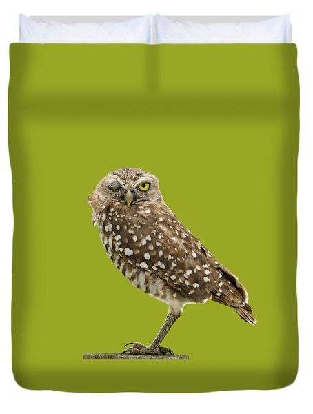 Duvet Cover featuring the photograph Winking Owl by Bradford Martin