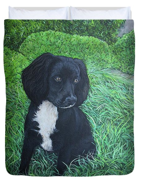 Duvet Cover featuring the painting Winnie by Tom Roderick