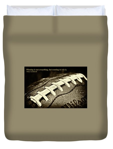 Winning Is Not Everything - Lombardi Duvet Cover by David Patterson