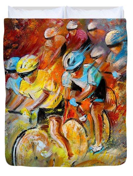 Winning The Tour De France Duvet Cover