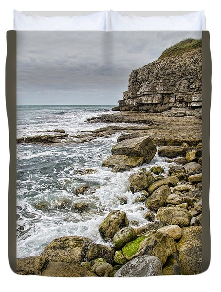 Winspit Cove In Dorset Duvet Cover