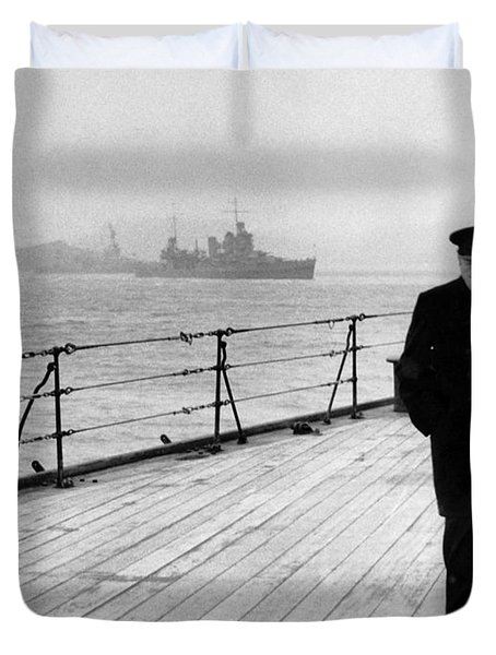 Winston Churchill At Sea Duvet Cover