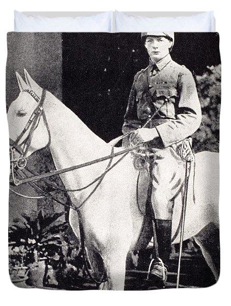 Winston Churchill On Horseback In Bangalore, India In 1897 Duvet Cover