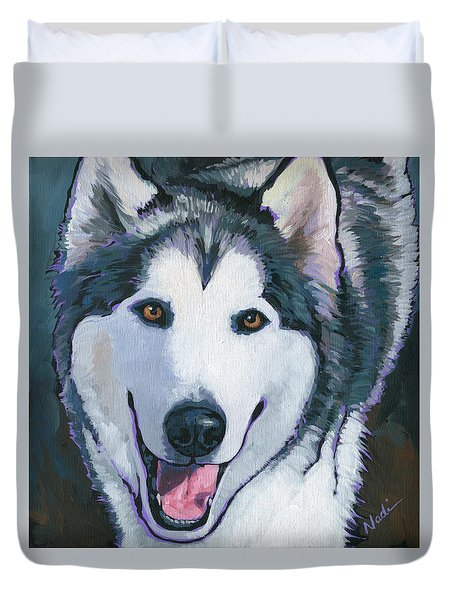 Duvet Cover featuring the painting Winston by Nadi Spencer